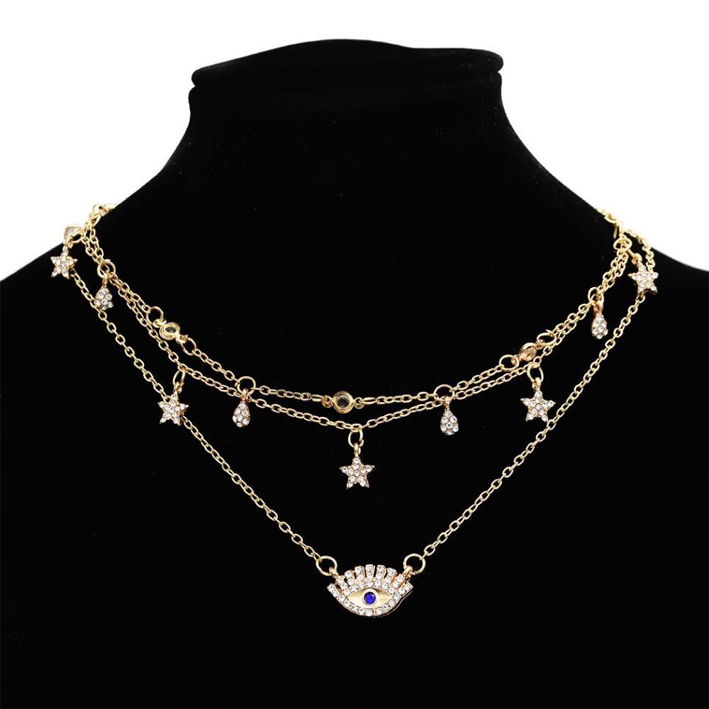 f91b3173aa7f Compre Francés De Moda De Múltiples Capas De Metal De Oro Gargantilla  Collares De Cristal Estrella Ojo Colgante Cadenas Collares Para Las Mujeres  Encantos ...