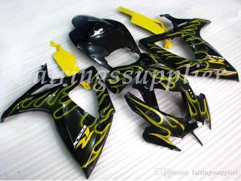 New (Injecção) ABS Fairing Kits Fit For (Suzuki GSXR 600-750) 2006 2007 GSX-R600 R750 K6 06 07 carenagens set no1 chama amarela