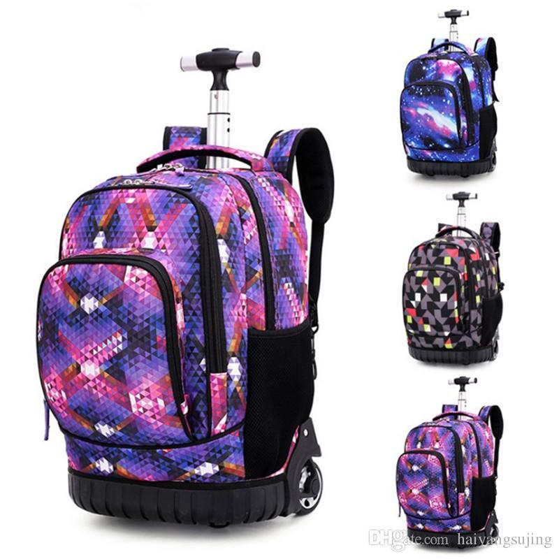 1e4329d0d Los estudiantes de la escuela secundaria trolley bolsas para niño viaje  mochila adolescentes mochila niña equipaje impermeable niños rueda bolsa de  la ...