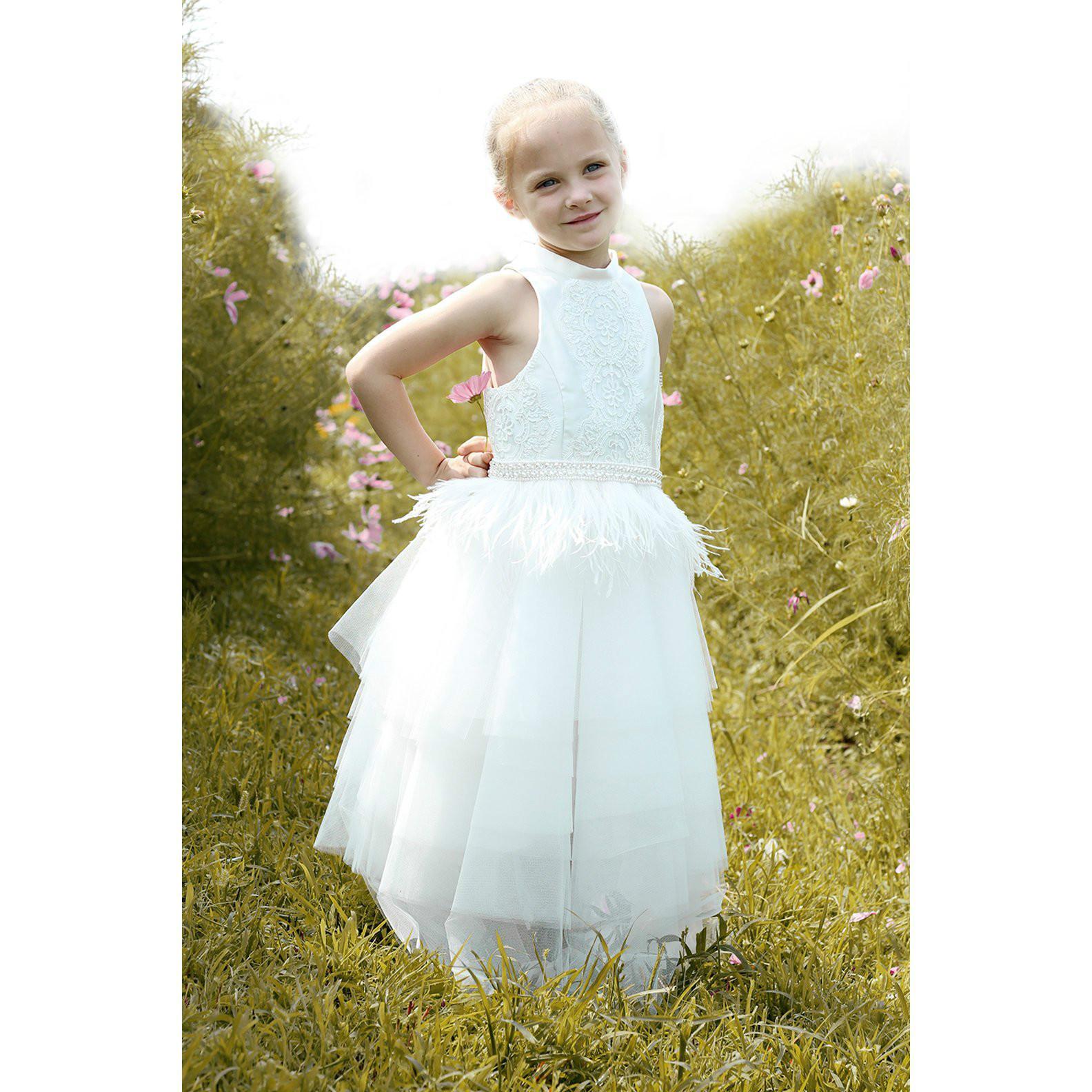 39f33c21e White Ivory Luxury Flower Girl Dress Lace Applique Little Baby Girl ...