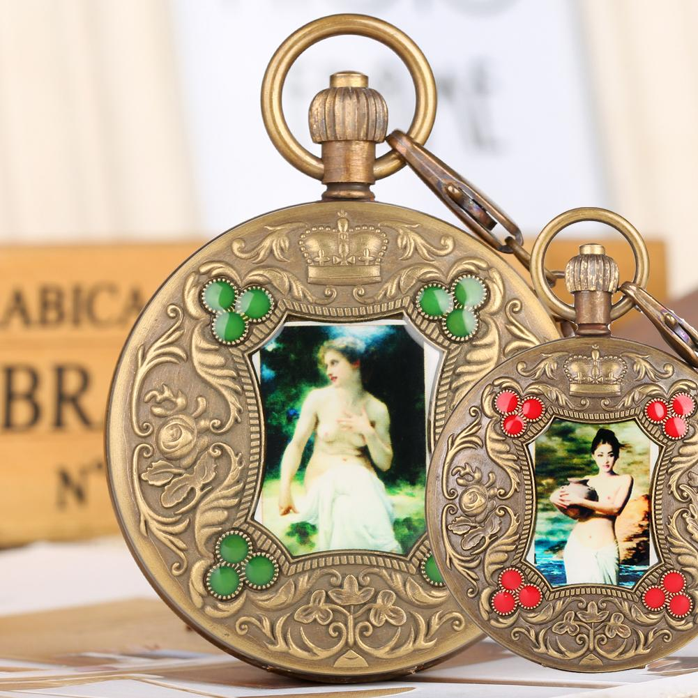 2019 mejor venta diseño popular elegante en estilo Reloj de bolsillo de bronce para hombres Foto artística Relojes de bolsillo  mecánicos para mujeres Reloj automático de cuerda automática.