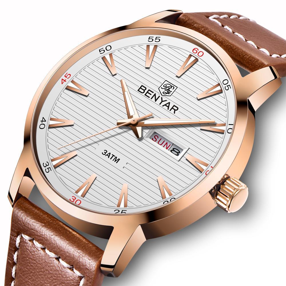 De Horloge En Cuir Homme Casual Bracelet Relogio Marque Sports Hommes 2018 Quartz Luxe Masculino Montre Montres Benyar 1KclFJ