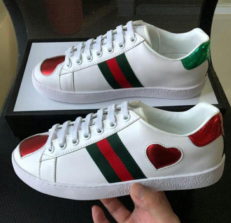 eb5b2baa5447 Heart Designer Shoes Best Quality ACE White New Embroidered Men Women  Genuine Leather Designer Sneakers Luxury Brand Paris Casual Shoes Women  Shoes Mens ...