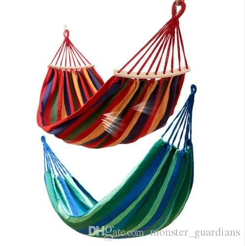 Practical Portable Camping Sleeping Bag Hammock Outdoor Hammock Garden Sports Home Travel Camping Swing Canvas Stripe Hang Bed Hammock Camping & Hiking Camp Sleeping Gear