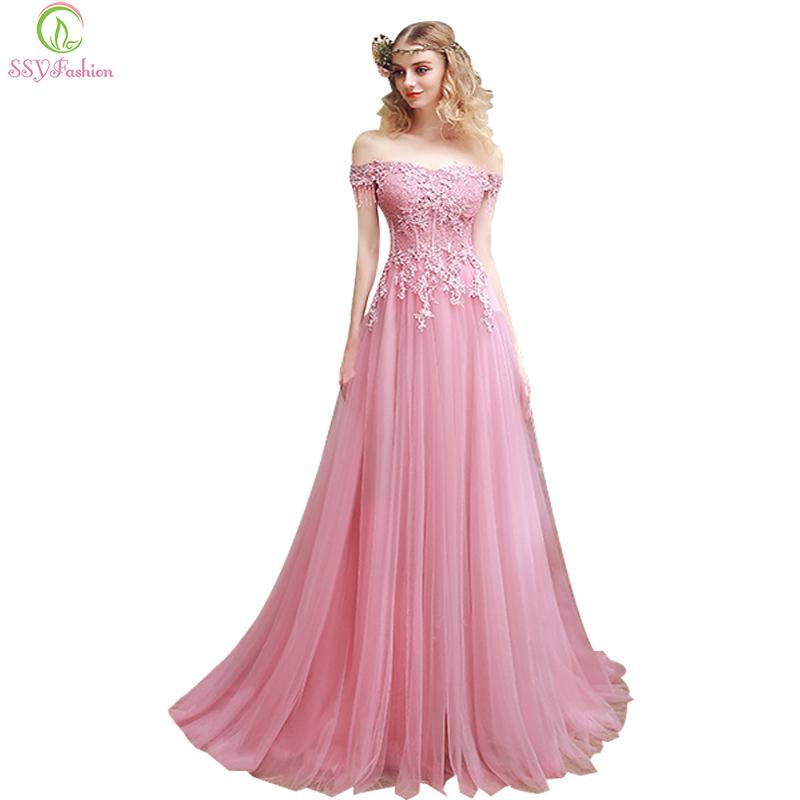 07fc3bad70b1e 2019 2017 SSYFashion New Sweet Pink Lace Embroidery Evening Dress The Bride  Slim Sexy Sweep Train Long Prom Dress Custom Party Gown C18122201 From ...