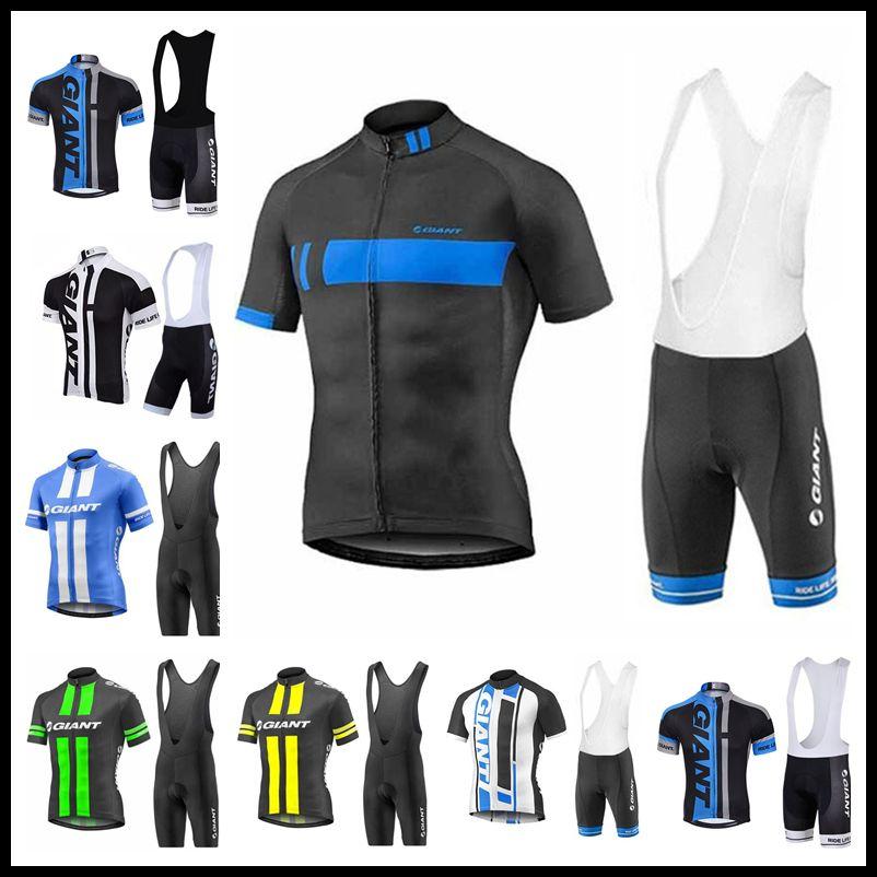 2018 Giant Cycling Team Kit Short Sleeve Bike Jersey Padded Bib Shorts Set