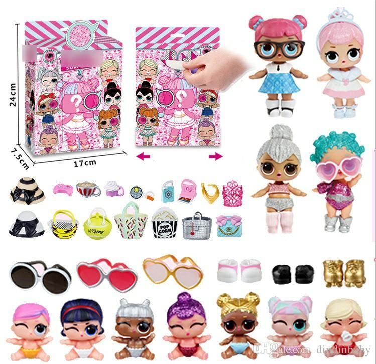 Plastic Doll Toys for Children Random 2pcs Dolls + 4pcs Accessories Kawaii Action Figures Realistic Reborn Dolls for Girls Kids Toys