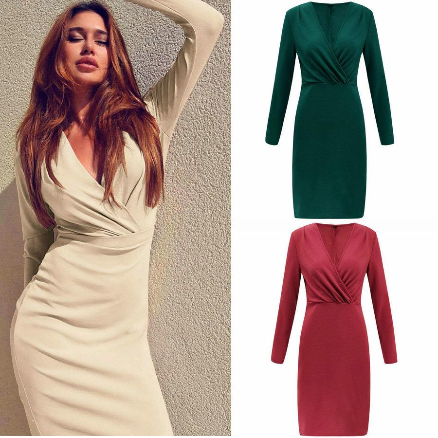 Sexy Full Dress Long Sleeve V-neck Women Bodycon Dress Fashion Business  Pencil Dresses Party Nightclub Dresses Pencil Dress Skinny Dress Party  Nightclub ... 8feb8dcca2a2