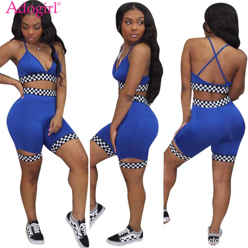 d14fbdeddf3b 2019 Adogirl Women Two Piece Set Outfit Checkerboard Plaid Race Suit Bra  Top And Shorts Female Tracksuit Summer Club Suits Sportswear D19011104 From  ...