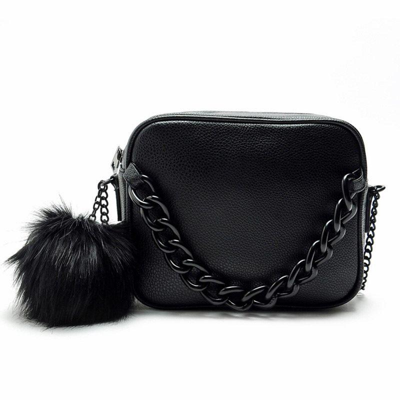 8795b10a37e3 Famous Brand Handbags Women Shoulder Bag Designer Plush Ball Chain Leather  Bag Small Crossbody Bags For Women Sac A Main 729 Shoulder Bags For Men  Fiorelli ...