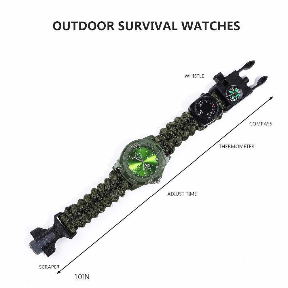Outdoor Camping Multi Tool watch survival watch Compass Thermometer Rescue Rope Paracord Bracelet Equipment Tools kits Parachute (3)