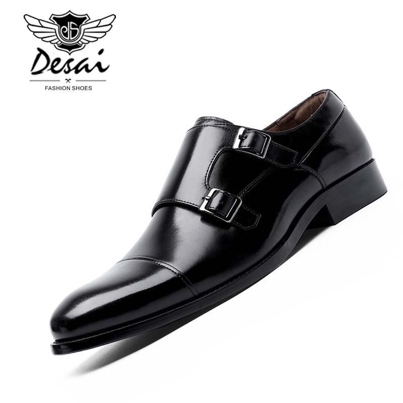 666cc82de58 Compre DESAI Marca De Cuero Genuino Zapatos De Vestir Hombres Hebillas  Dobles Zapatos De Monje Negocios Formales Oxford Trabajo De Boda Hombres A  $88.51 Del ...