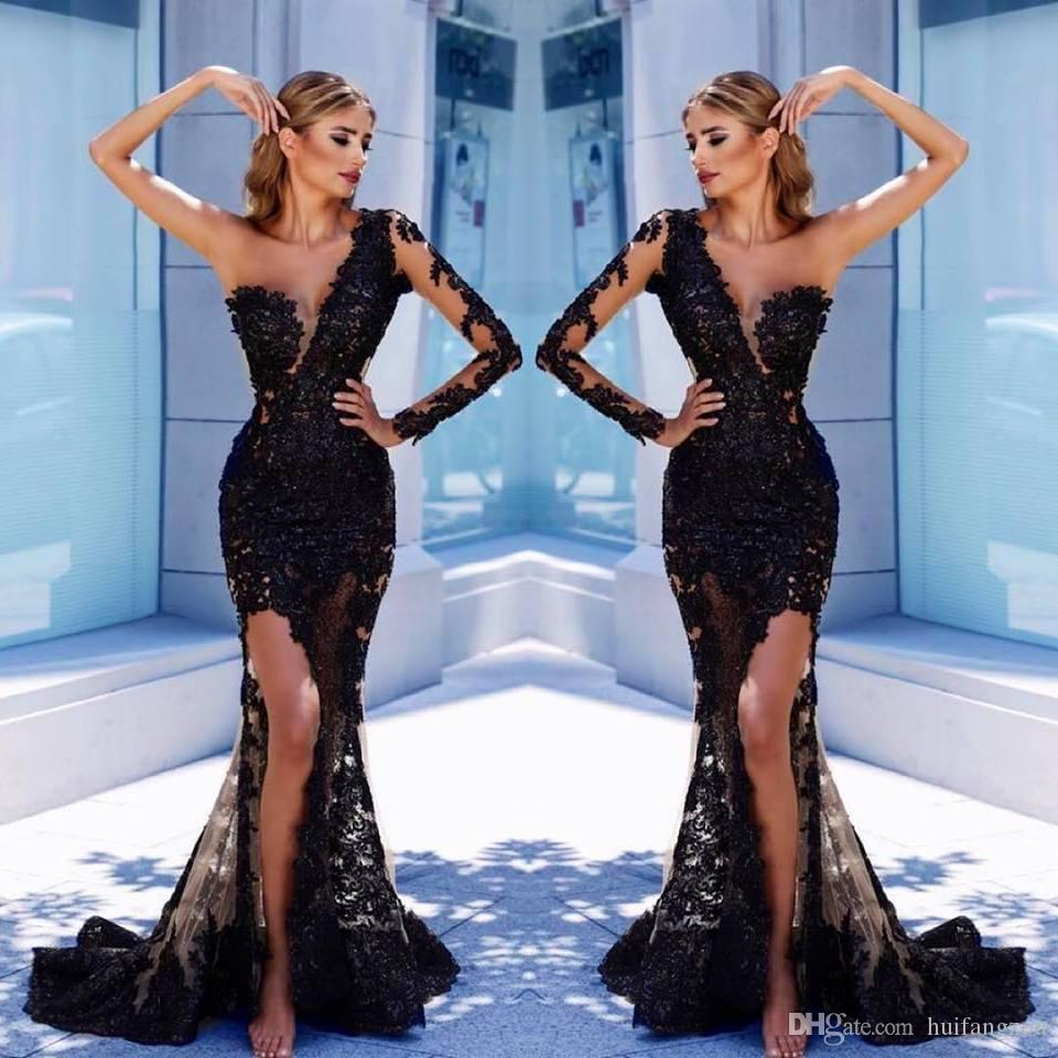Sexy Black Mermaid Prom Dresses Custom Made Sheer Lace Applique One  Shoulder Evening Gowns Side Split Formal Party Bridesmaid Dresses Short  Cheap Prom ... edbbbc084