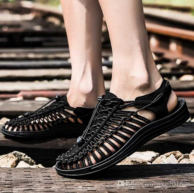 6c83ef1ea6b 2019 Men Summer Beach Sandals Shoes Hand Knitted Casual Sandals Flat ...