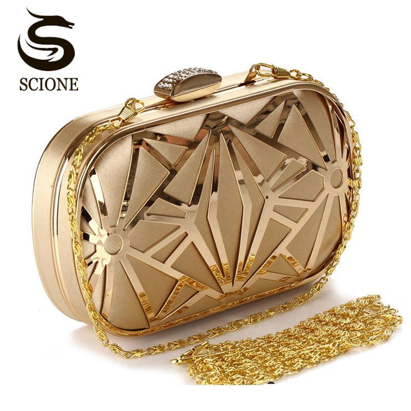 Wedding Party Bags Clutches Women Gold Crystal