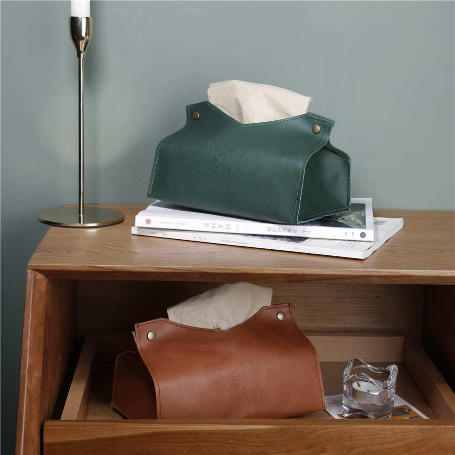 PU Leather Retro Towel Napkin Tissue Box Holder Container Organizer Paper Dispenser Tissue Holder Case for Office Home Decor