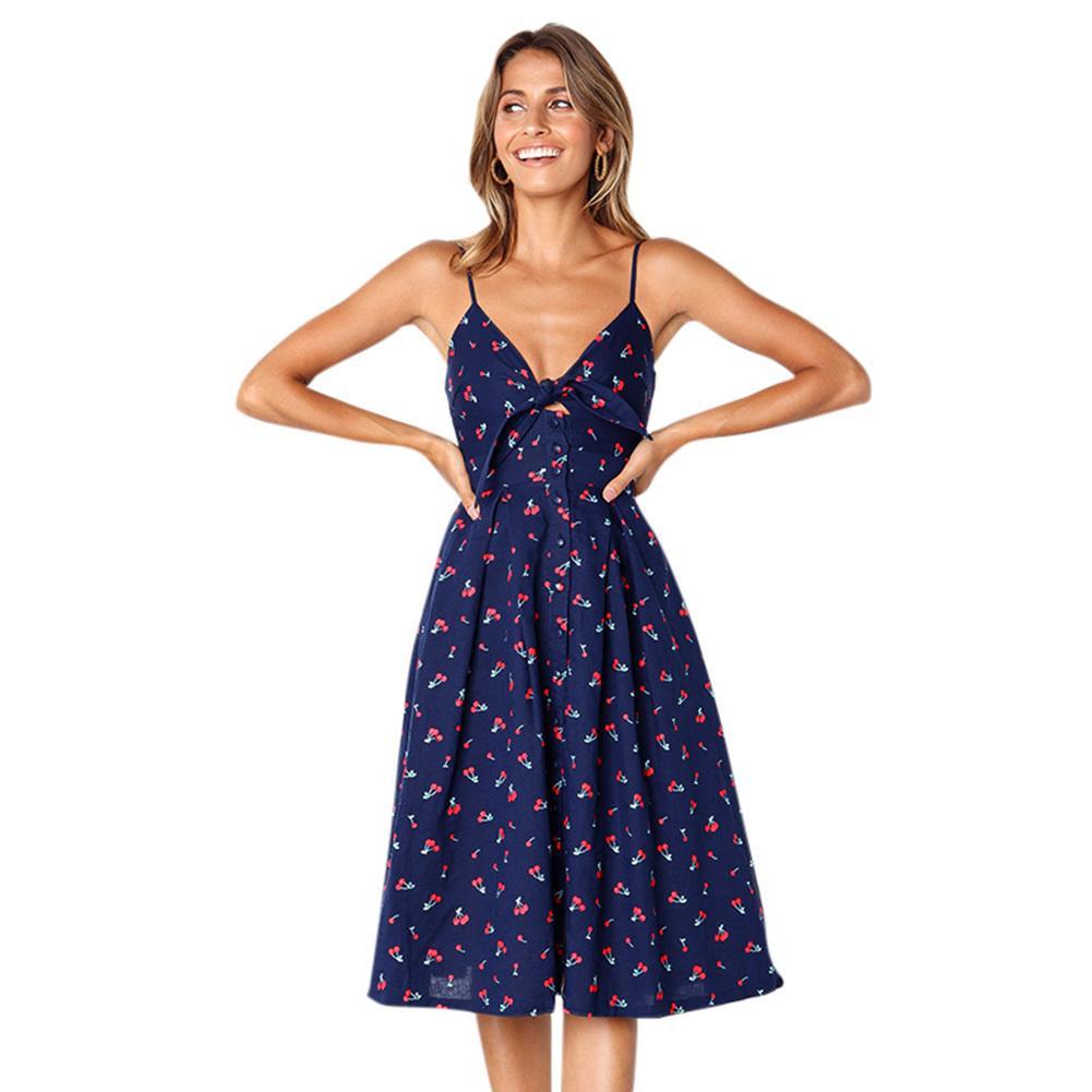 0a60496e91b36 Sexy Women Bow Backless Polka Dots Print Midi Dress Deep V Neck Button  Strappy Summer Beach Dress 2019 Elegant Ladies Robe Femme