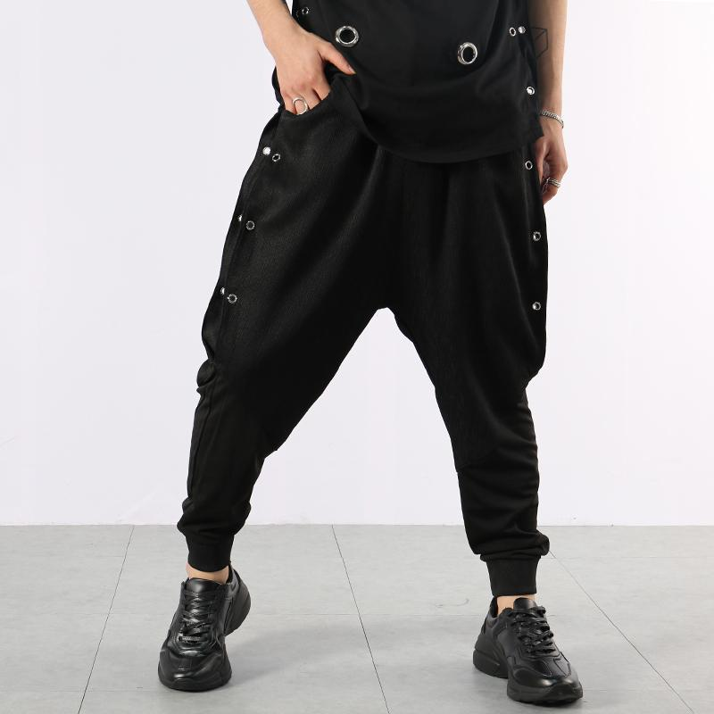 2019 summer fashion Hair Stylist night entertainment venue personality metal harem pants Drop-crotch pants