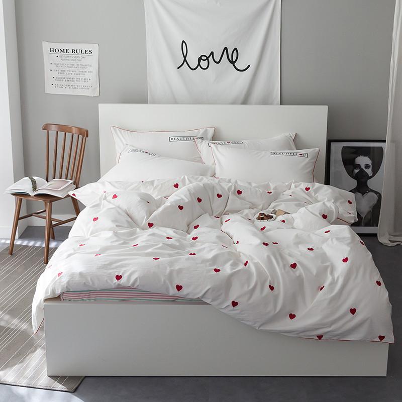 Pink heart Cute White Bedding set 100% Cotton Twin Queen King size Bed  sheet/Linen Duvet cover set Pillowcase soft Bedclothes