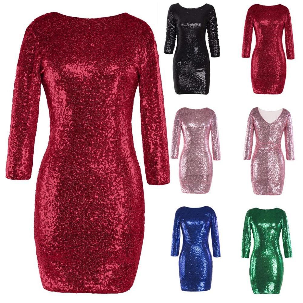 Vetement Femme 2018 Women S Sparkle Glitzy Glam Sequin Long Sleeve Shine Flapper  Party Dress Vestidos Mujer 2018 Brides Dresses Cocktail Dresses Online From  ... 07141362a0ea