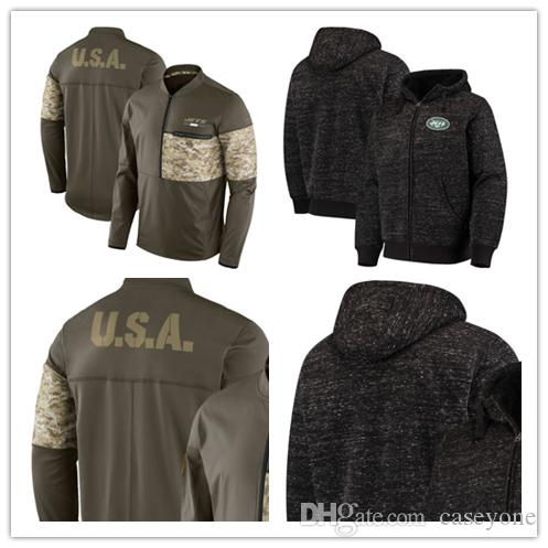 quality design 8c82a 622c4 New York Men's Jets Jersey Salute to Service Sideline Hybrid Half-Zip  Pullover Jacket football Hoodie