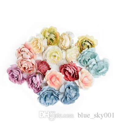 Artificial flower 5cm silk rose flower head wedding party home decoration DIY wreath scrapbook craft fake flower