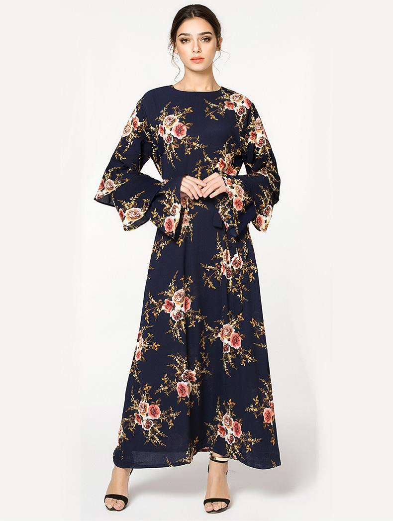 55d9b303eb Muslim Malaysia Floral Long Dresses Spring Summer Women Flare Long Sleeves  Casual Fashion Dress
