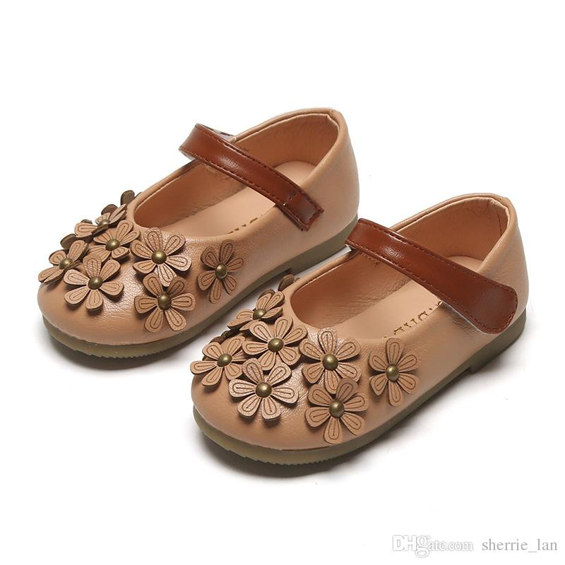 2019 Newest Flowers Children Toddler Baby Little Girls Leather Single Shoes Kids Flat Princess Shoes Fashion Party Lady Sandals
