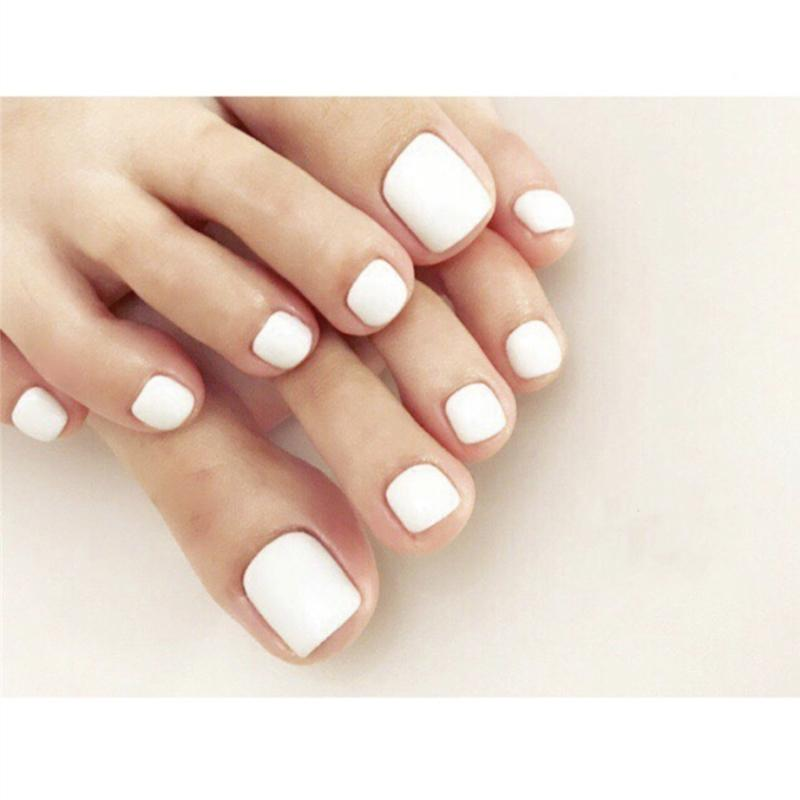 Summer new matte white pure color false nails for toe 24pcs french cute short size toe nails lady full nail tips foe