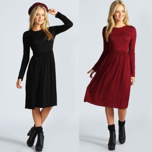 ec97c4d7ea Womens Ladies Long Sleeves Flared Franki Swing Midi Skater Dress ...