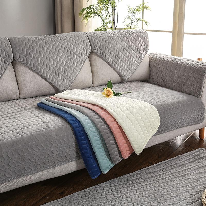 Sofa Covers for Living Room Gray Color Plush Sofa Cushion Couch Cover  Modern Minimalist Corner Towel Seat Pad