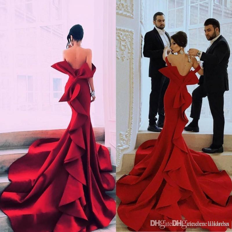 Sexy Mermaid Portrait Fabulous Prom Dresses New Off Shoulder Big Bow Backless Celebrity Party Gowns Dubai Satin Evening Dress Robe De Mariee