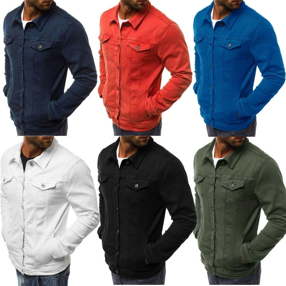 611f5d5ce4c Men Denim Jacket Outwear Coat Motorcycle Street Casual Long Sleeve ...