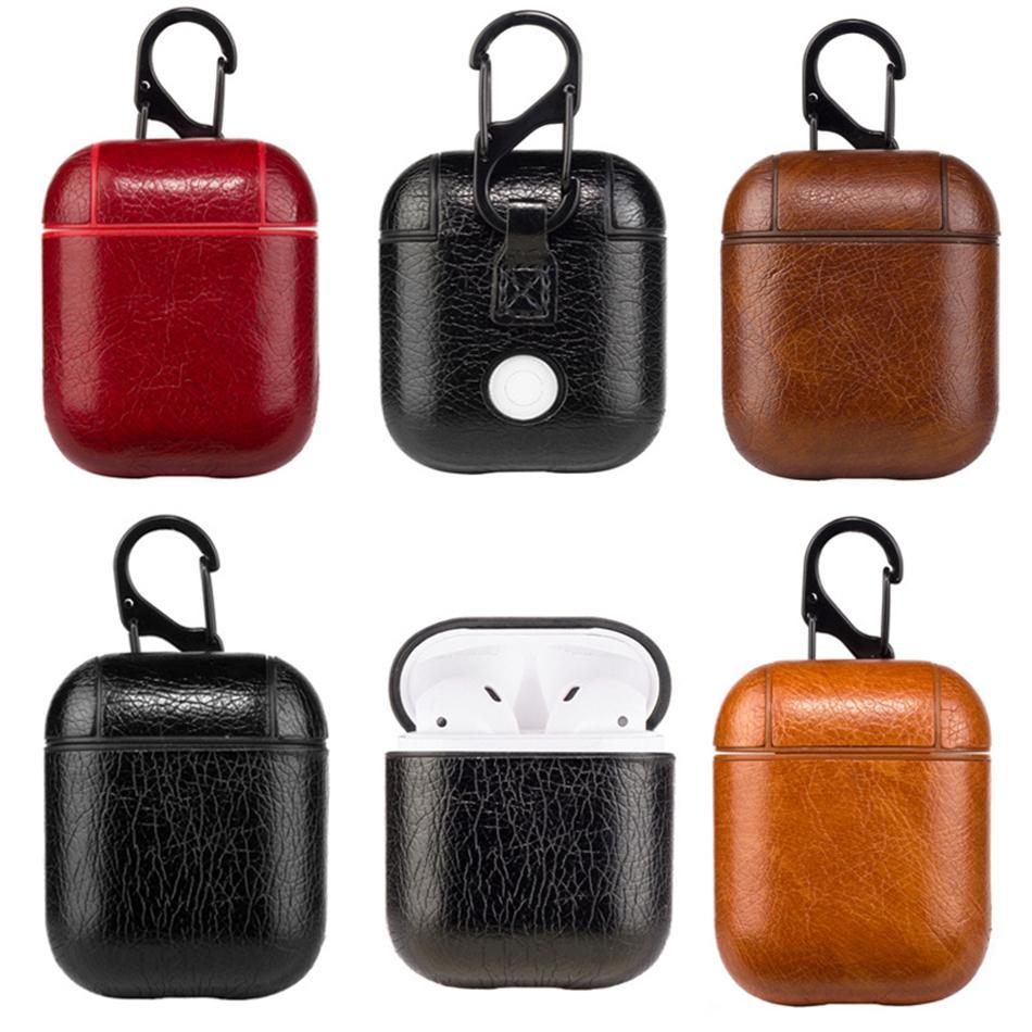 2019 Hot Sale Leather Airpods Case PU Protector Cover Fashion Anti Lost Hook Clasp Keychain for Apple Airpods Cell Phone Case Free DHL M023F