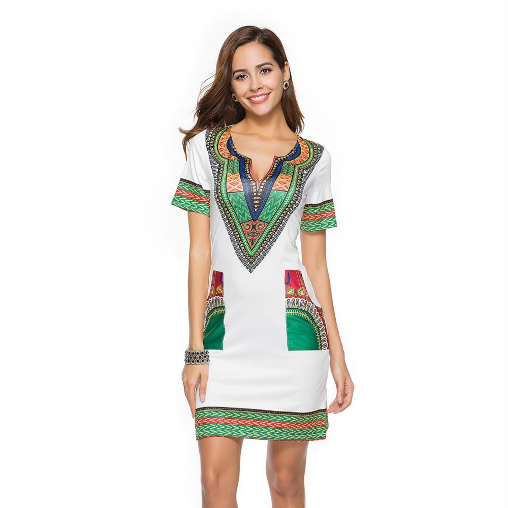 52fff0512 Compre Primavera Y Verano Ropa De Mujer Venta Caliente Tight National Wind  Printing Nuevo Vestido A  21.0 Del Ktmlan