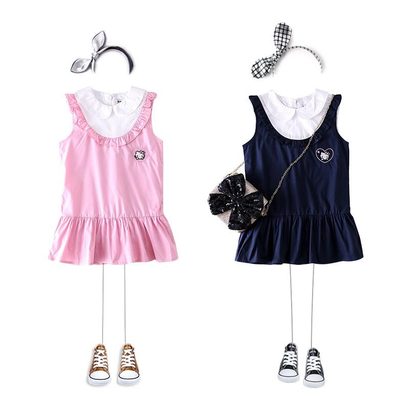 cfac42e13 2019 Wholesale Girls Hello Kitty Dress Kids Turn Down Collar Dress For  Girls Casual 2019 Girl Summer Clothes From Henryk, $97.73 | DHgate.Com