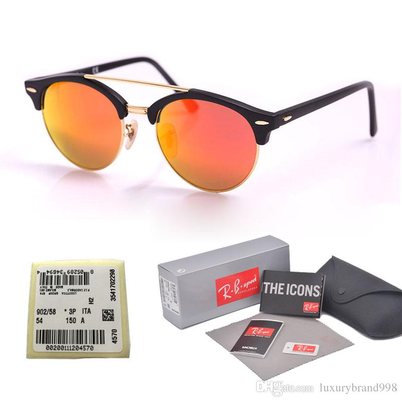 47459de88 High Quality Flash Mirror Glass Lens Sunglasses Men Women Brand Designer  Plank Frame Sun Glasses Oculos De Sol With Original Box And Label Electric  ...