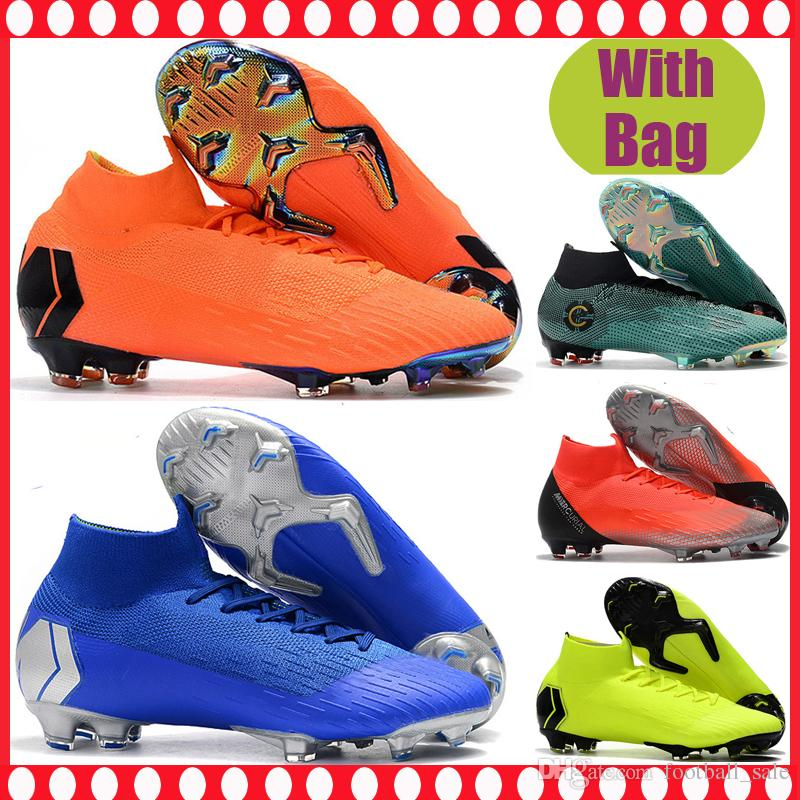 604ae76df4a Cheap Kids High Ankle Football Boots CR7 Mercurial Superfly VI Neymar FG  Women Men Soccer Shoes Cristiano Ronaldo Youth Boys Soccer Cleats Girls  White ...