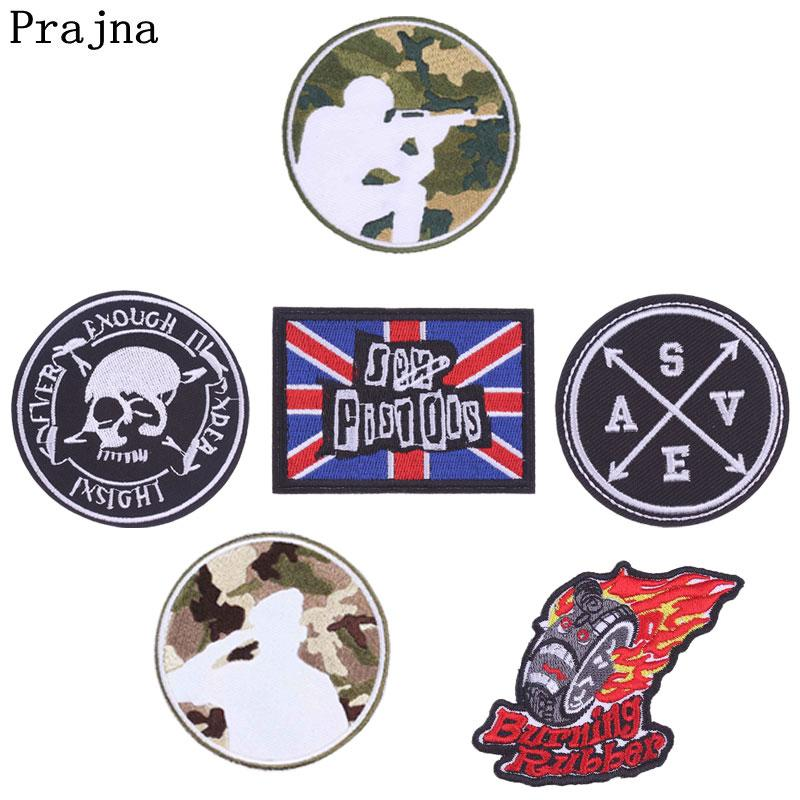 Prajna Pubg Skull Embroidered Iron On Patches For Clothes Applique Flower Overlock Backpack Patch Badge Jean Stickers E