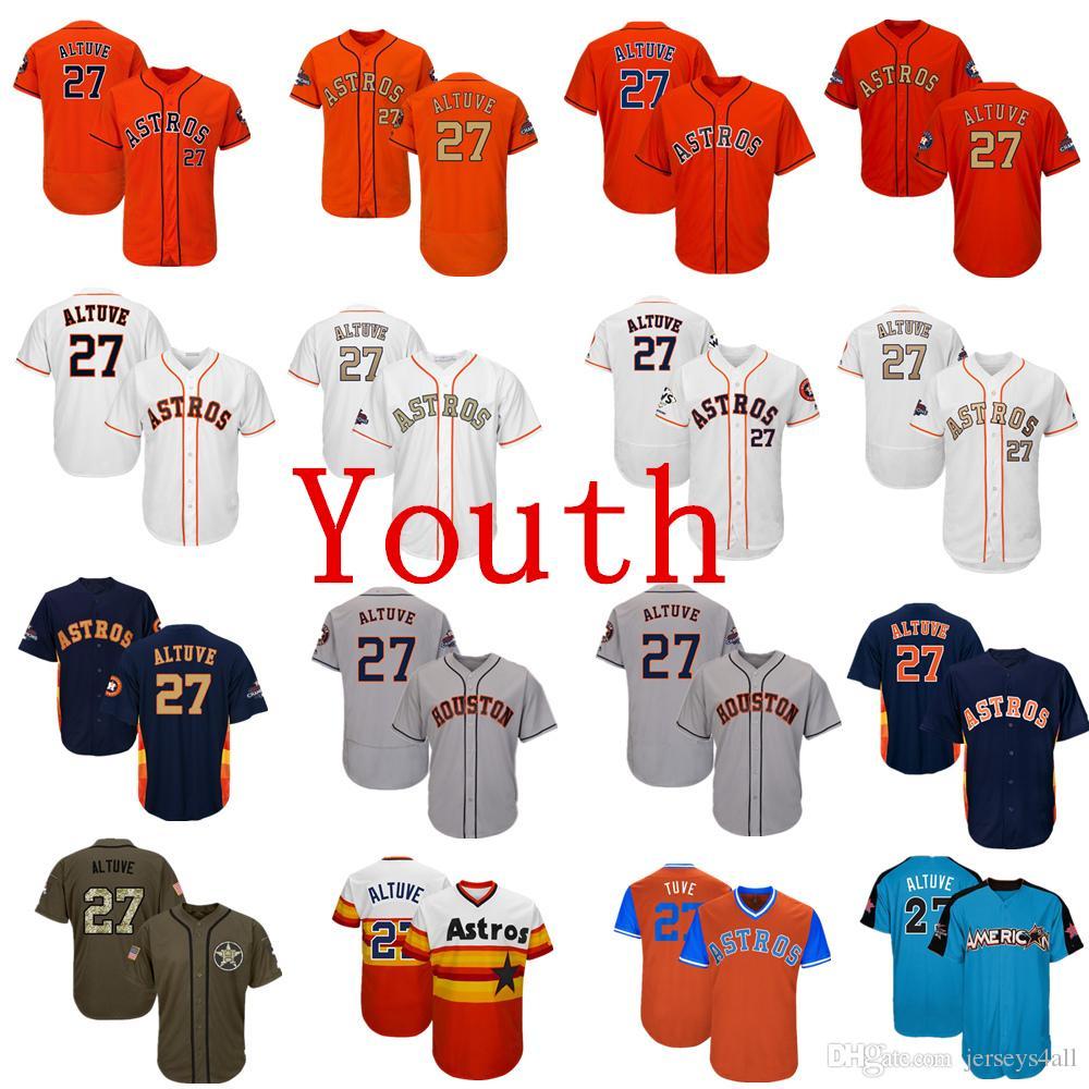 quality design d2e60 8b093 Youth Kids Child Astros Baseball Jerseys 27 Jose Altuve Jersey Navy Blue  White Orange Grey Gray Gold Green Salute