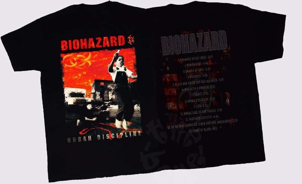 T Shirt Hot Sale Clothes O - Neck Short Biohazard Urban Discipline American Heavy Metal Band Design T Shirts For Men