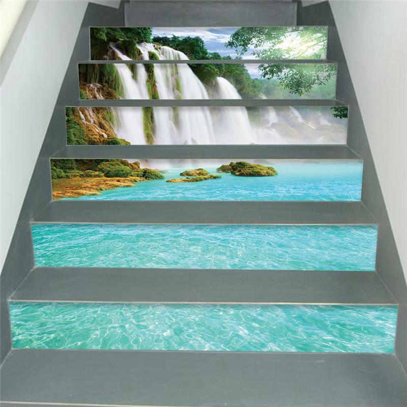 v3D Stair Wall Stickers Waterfall running water pattern print DIY Steps Sticker Removable Stair Sticker Home Deroration 2019