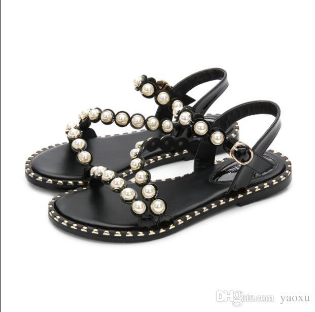 Chaussures Plates Perles Femmes 2019 Bohemia Sandales D'été yN8wOm0vnP
