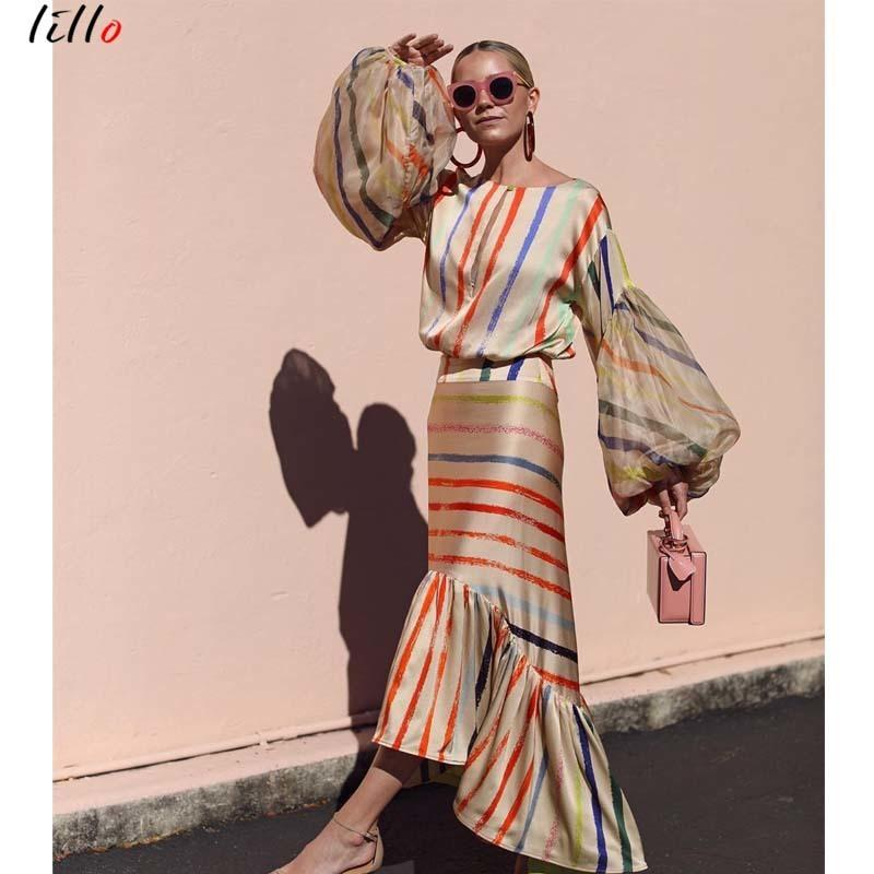 f94cc52114 Asymmetricallantern Sleeve Striped Fashion Casual Temperament Summer Ruffle  New Trend 2019 Unique Design Sexy Dress C19041901