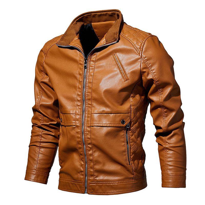 adba02e40 New Spring Casual PU Leather Jacket Men Faux Embroidery Jackets Bomber Warm  Coat Autumn Baseball Jacket