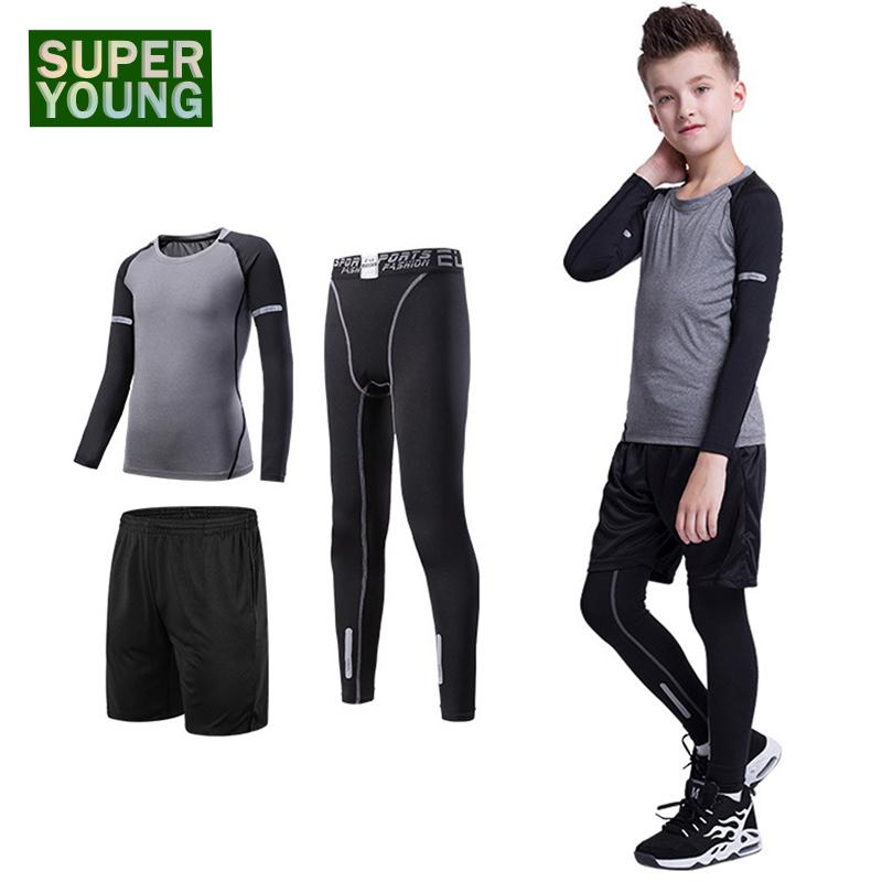1437bd5e220fbf 2019 Football Children Fitness Clothing Kids Gym Wear Running Tracksuit Men Training  Tights Jogging Suits Boys Sports Compression Set From Litchiguo, ...