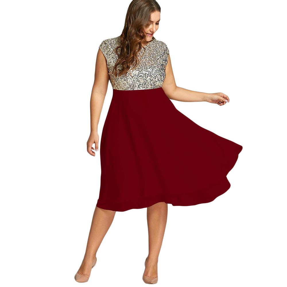 ba0138a93df Wipalo Women Plus Size 5XL Flounce Sequin Sparkly Party Dress Female  Vintage Short Sleeves Knee Length Party Ball Gown Vestidos Knit Sundresses  Dressing ...