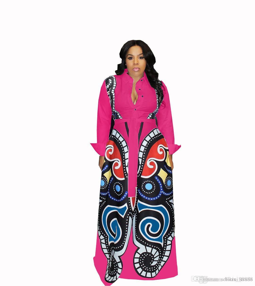 d5346dc370fc Rose Red Large Swing African Print Dresses Women Clothes Plus Size Sexy  Elegant Butterfly Print Dress Robe Africaine Design Clothings Dresses On  Sale ...