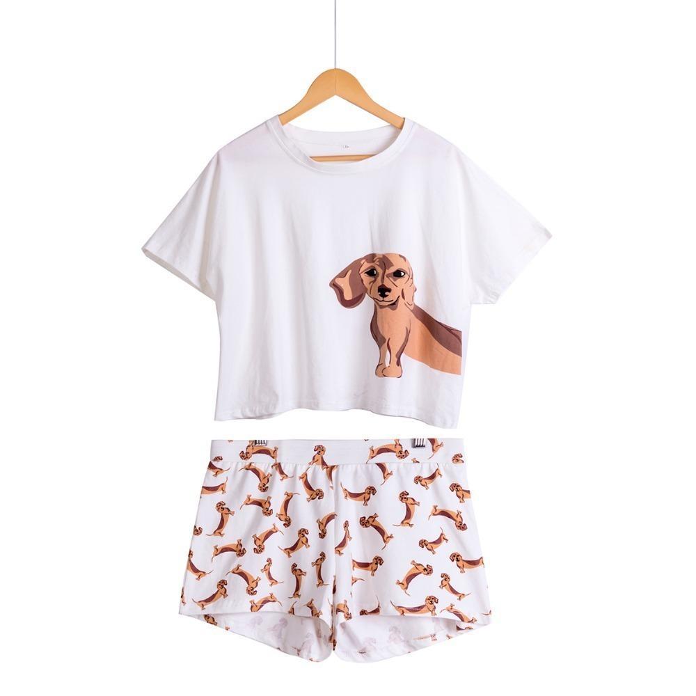 c7baf15466 2019 Cute Women Pajamas Nightwear Dachshund Print Dog Set Short ...