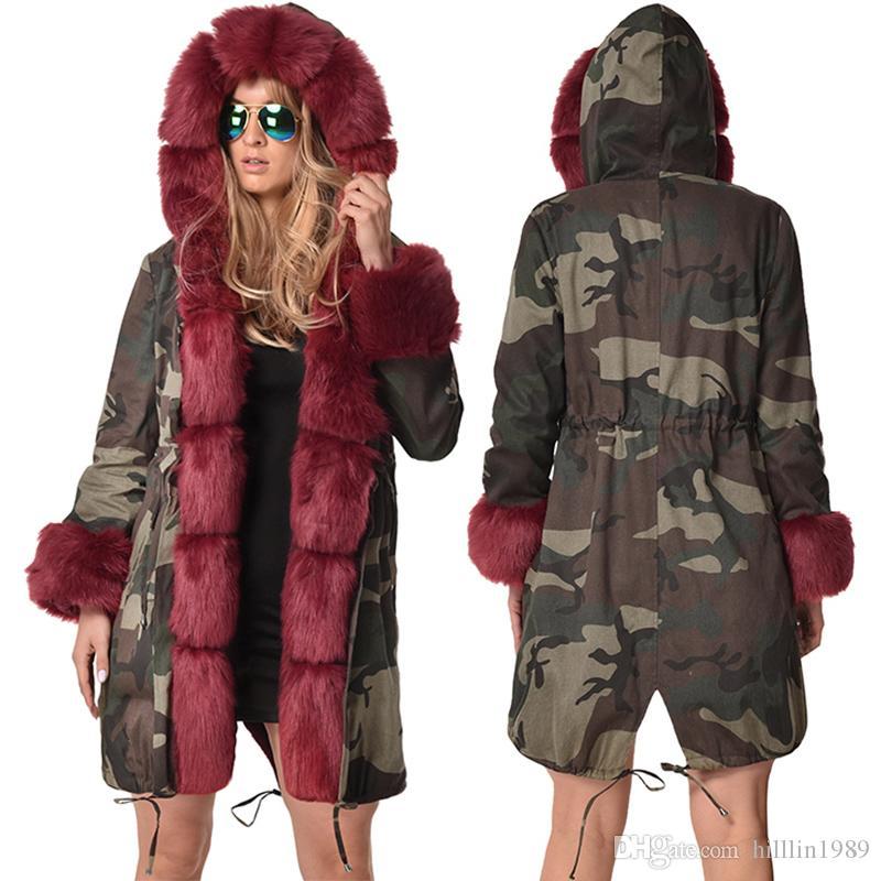 56b9021ba180 2019 Plus Size Women'S Windbreaker Long Sleeve Large Size Fashion Outerwear  Long Faux Fur Collar Hooded Winter Jacket Warm Fur Camouflage Coat From ...